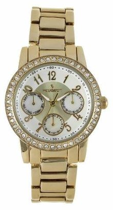 Swarovski PEUGEOT Watches Women's Peugeot Silver Dial Multifunction watch with crystals from Gold