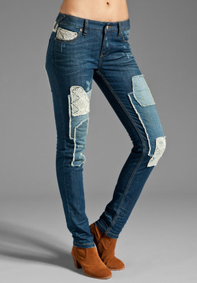 Free People Crochet Patched Skinny in Daisy Wash