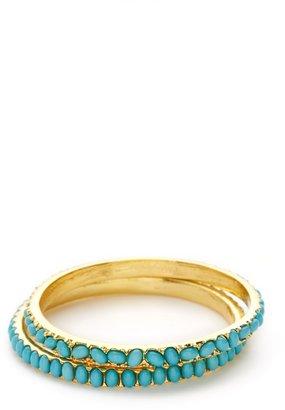 Kenneth Jay Lane Set Of 2 Turquoise Resin Bangle Bracelets