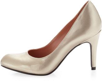 Neiman Marcus Round-Toe Metallic Pump, Soft Gold