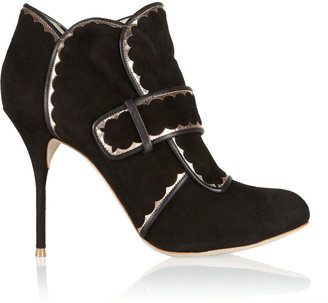 Webster Sophia Metallic leather-trimmed suede ankle boots