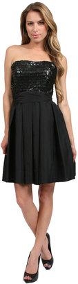 Nicole Bakti Leather Bodice Short Dress in Black
