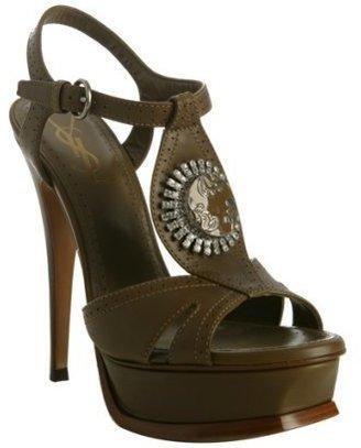Yves Saint Laurent khaki leather medallion t-strap platform sandals