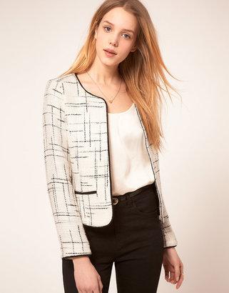 Asos Premium Collarless Textured Jacket