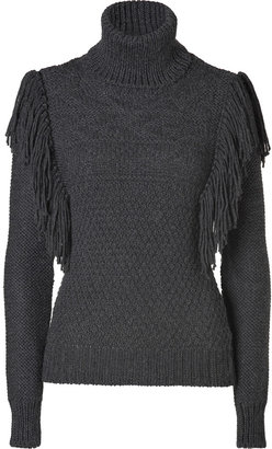 Joseph Charcoal Alpaca Fringed Turtleneck Pullover