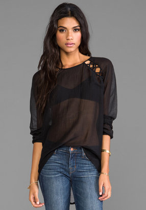 Tylie Lattice Silk Long Sleeve Blouse