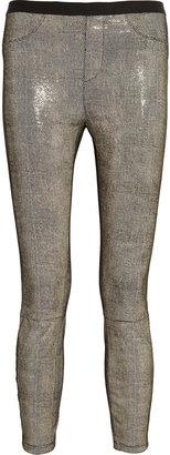 Helmut Lang Embossed stretch-leather leggings