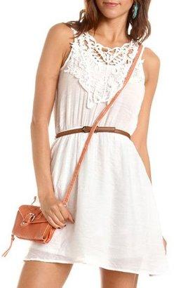 Charlotte Russe Belted Crochet Detail A-Line Dress