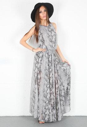 Enza Costa Chiffon Maxi Dress in Chrome Boa -