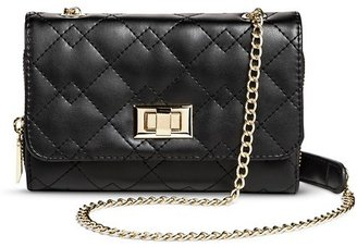 Mossimo Women's Quilted Crossbody Faux Leather Handbag Turnlock Clasp Black - Mossimo $16.99 thestylecure.com