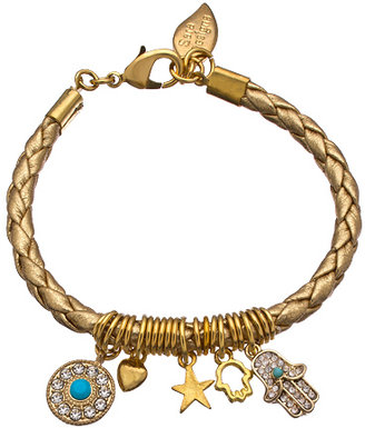 Sara Designs Gold and Gold Braided Leather Charm Bracelet