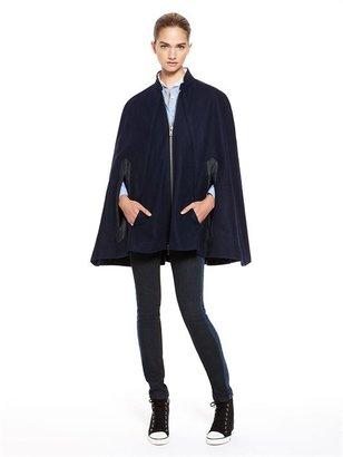 DKNY Denim Pieced Wool Cape