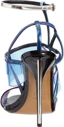 Fendi Iridia PVC Ankle-Strap Sandals