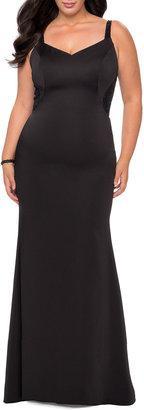 La Femme Plus Size V-Neck Lace-Back Sleeveless Jersey Gown