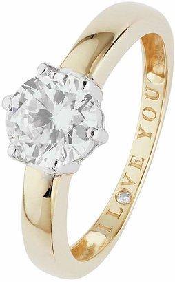 Revere 9ct Yellow Gold CZ 'I Love You' Solitaire Ring