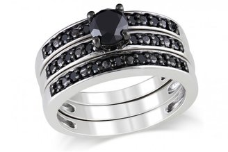Ice 1 CT Black Diamond TW Bridal Silver and Black Rhodium Plated Ring Set