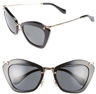 Miu Miu Women's Noir 55Mm Cat Eye Sunglasses - Black