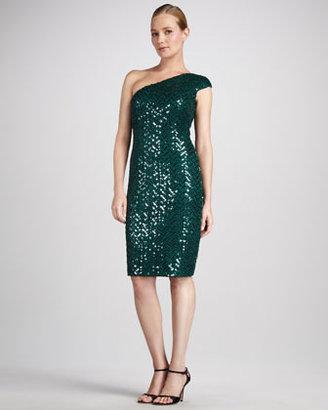 David Meister Sequined One-Shoulder Cocktail Dress