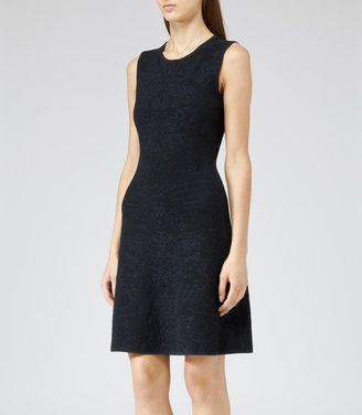Reiss Franky TEXTURED KNIT FIT AND FLARE DRESS