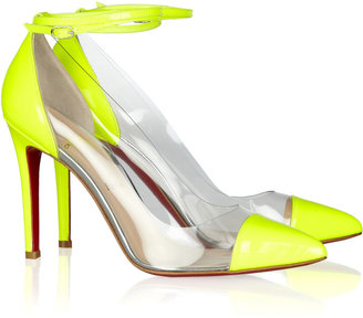 Christian Louboutin Un Bout 100 patent leather and PVC pumps
