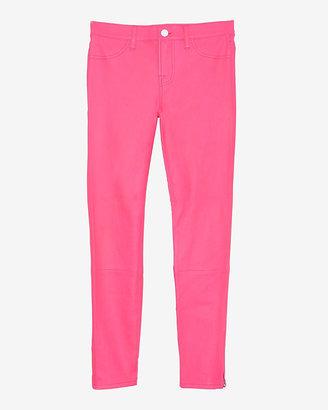 J Brand Crop Ankle Zip Leather Skinny: Pink
