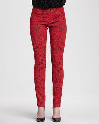 Alice + Olivia Brocade Skinny Jeans, Red