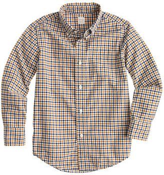 J.Crew Boys' Secret Wash shirt in blue and yellow tattersall