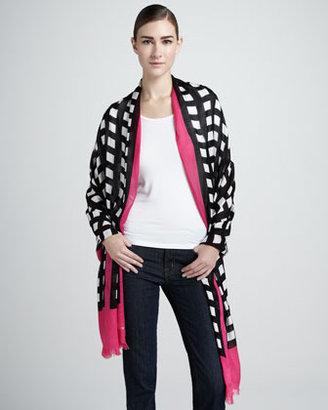 Kate Spade Pop Art Grid-Print Scarf, Black/Cream/Pink