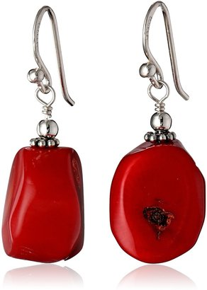"""Barse Basics"""" Red Bamboo Coral Drop Earrings"""