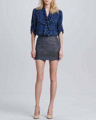 Alice + Olivia Flora Metallic Miniskirt
