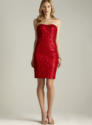 Theia Sequinned Lace Strapless Dress