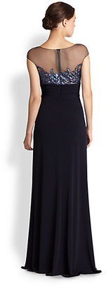 David Meister Cap-Sleeve Illusion Gown