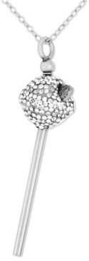 Simone I. Smith Platinum Over Sterling Silver Necklace, White Crystal Mini Lollipop Pendant