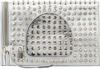 Tom Ford Alix Small Studded Leather Padlock & Zip Shoulder Bag, Silver