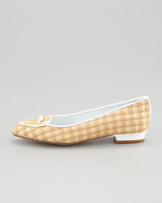 Jacques Levine Laura Woven Raffia Belgian Loafer, White/Natural