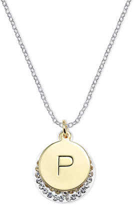 Macy's 14k Gold and Silver Plated Necklace, Crystal P Pendant
