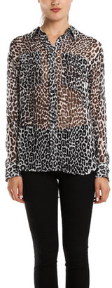 Equipment Signature Blouse in White/Black Leopard