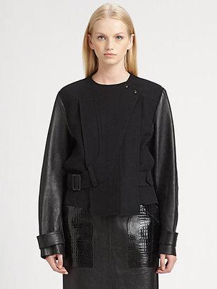Alexander Wang Leather-Sleeve Jacket