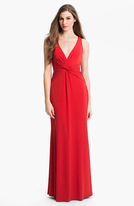Laundry by Shelli Segal Knotted Jersey Surplice Gown