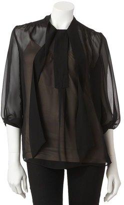 JLO by Jennifer Lopez solid chiffon blouse