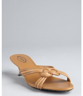 Tod's tan leather knotted strappy open back sandals