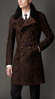 Burberry Mid-Length Shearling Collar Suede Trench Coat