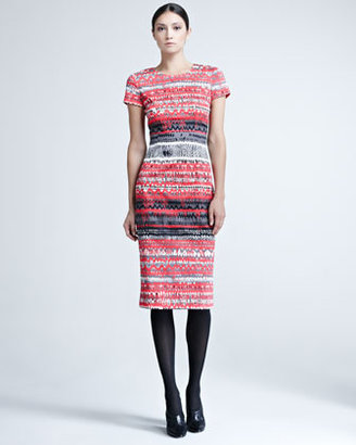 Carolina Herrera Short-Sleeve Print Sheath Dress