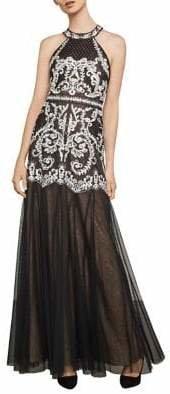 BCBGMAXAZRIA Sleeveless Embroidered Halter Gown