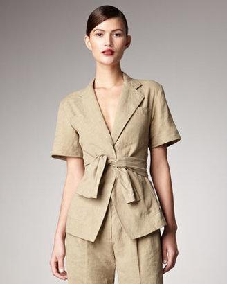 Donna Karan Short-Sleeve Tie-Front Jacket