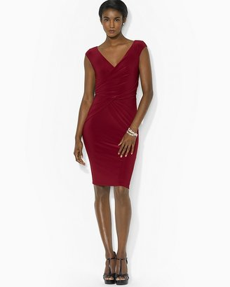 Lauren Ralph Lauren Cap Sleeve Draped Twist Dress