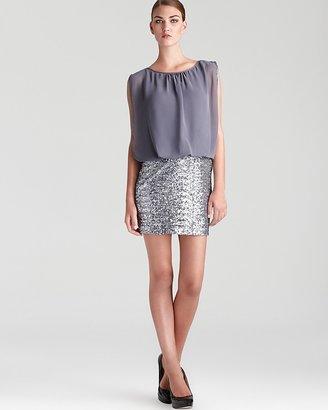 Aqua Blouson Sequin Dress