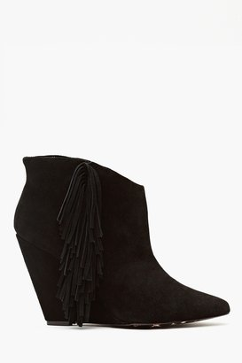 Nasty Gal Ziah Fringe Boot - Black Suede