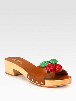 RED Valentino Cherry Leather Clog Sandals
