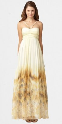 Aidan Mattox Print Halter Evening Dresses with Braided Straps